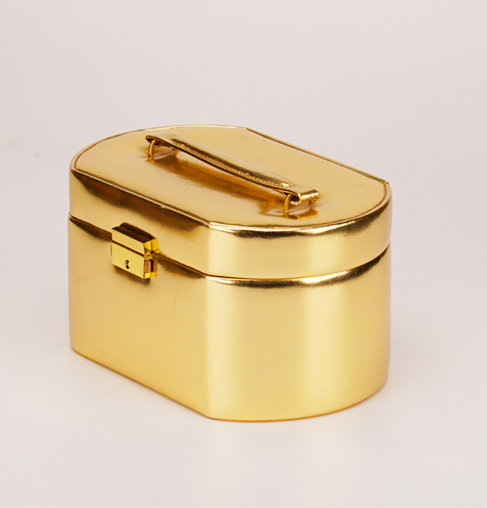 時尚皮質首飾箱定做 帶鎖扣化妝品收藏盒 化妝雜物收納手提箱