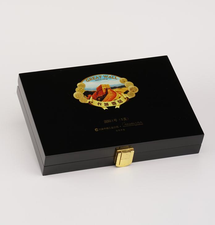 雪茄盒定制 簡約款翻蓋黑色雪茄禮品木盒 長城雪茄木盒