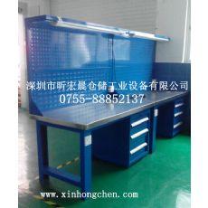 不锈钢桌面工作台 昕宏晨带挂板工作台厂家直销