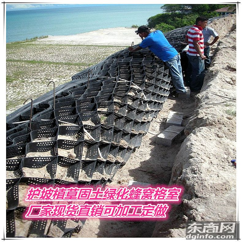 河道邊坡防護塑料蜂窩土工格