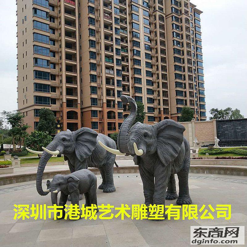港城雕塑供应仿真玻璃钢大象雕塑落户惠州楼盘