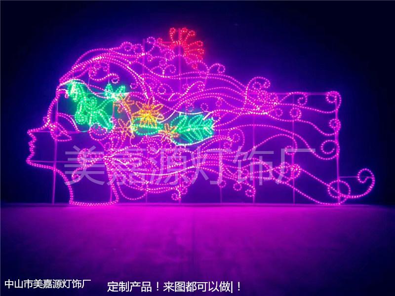 燈展 燈會大型活動專用燈,小型燈光節專用產品,美人頭 水母 立體造型燈,led燈飾畫