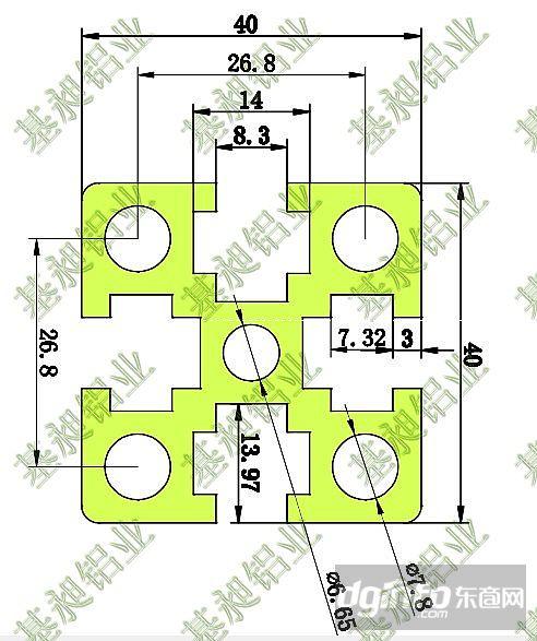 4040铝型材参数技术-4040图纸系列铝材锥度|东在的图纸中图纸表示图片