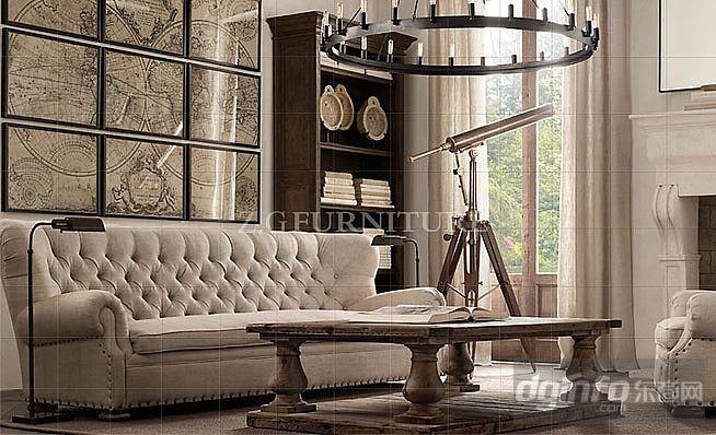 美式乡村沙发欧式布艺实木沙发宜家大户型客厅组合图片