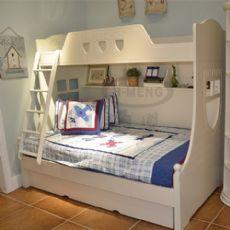 欧式儿童床蚊帐简欧床松木上下床高低床双人单人床实木床卧室家具图片