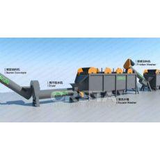 《HDPE塑料清洗设备》废旧塑料椅破碎清洗回收再生生产线
