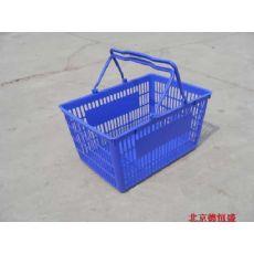 直销拉杆、带轮、红色超市购物篮