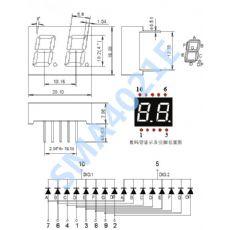 0.4英共阳二位数码管显示器 双位共阴红光七段数码管厂家 2位显示器SMA4021BH