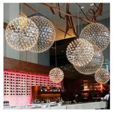 铭星楼梯间灯具厂家批发创意时尚LED不锈钢火星球吊灯花火圆球灯