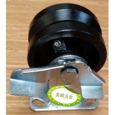 4*2寸重型V型轨道固定带刹车槽钢脚轮