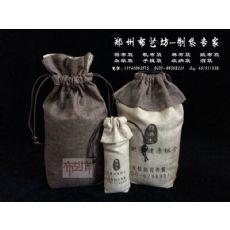 郑州束口拉绳帆布面粉袋定做价格 复古方底5kg大米袋定做