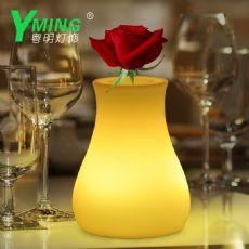 直销小花瓶假花盆栽摆件七彩遥控酒吧台灯装饰摆设led发光花瓶灯