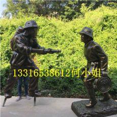 公园消防主题雕塑玻璃钢消防人像雕塑