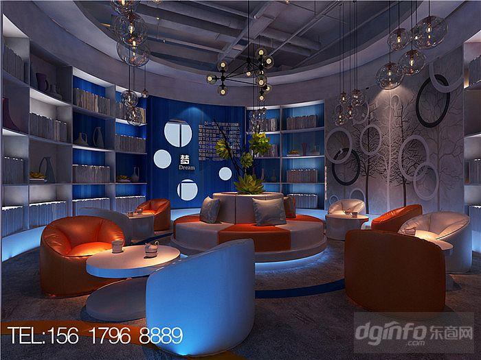 郑州校园时尚主题咖啡厅书吧设计效果图