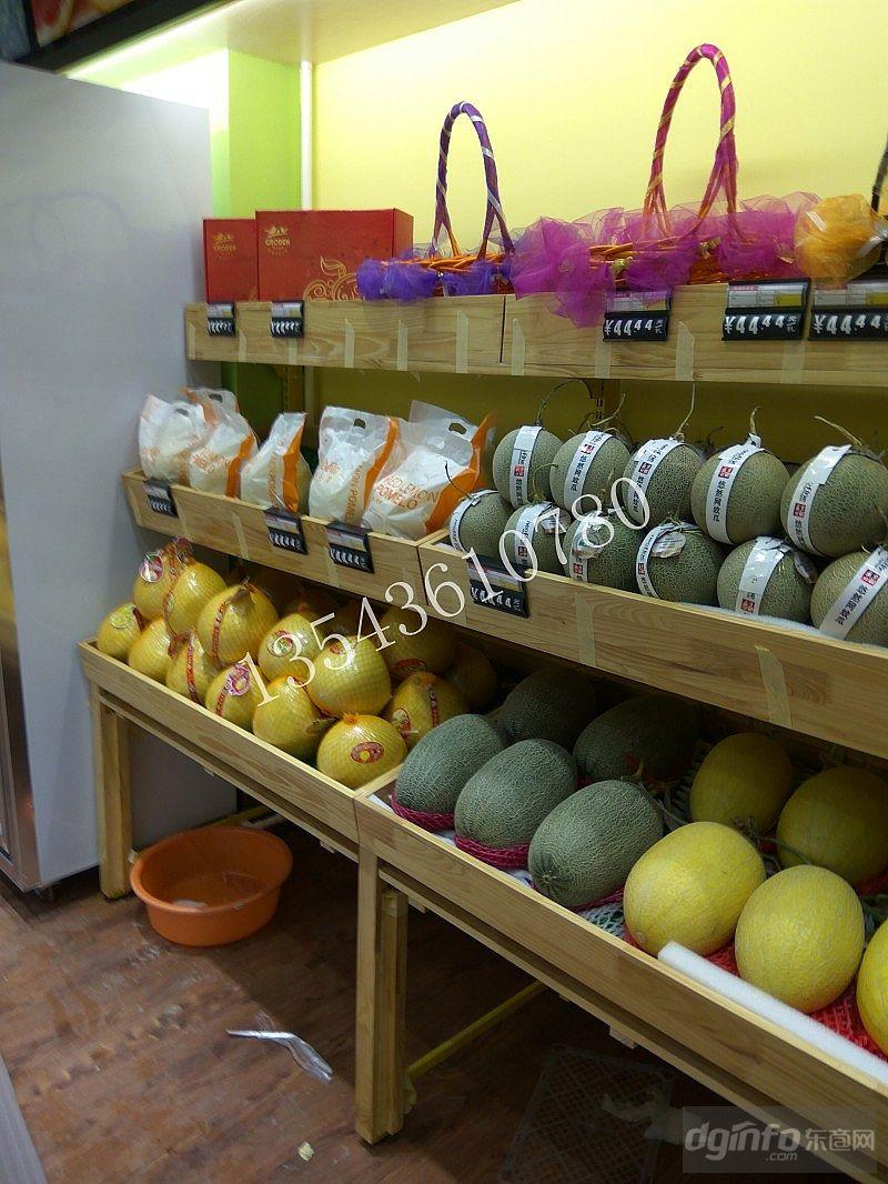 佛山市实木纹水果展架木制水果架定制松木水果店货架